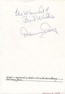 DENNIS DAY - AUTOGRAPH SENTIMENT SIGNED