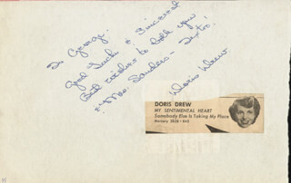DORIS DREW - AUTOGRAPH NOTE SIGNED CO-SIGNED BY: LES BAXTER