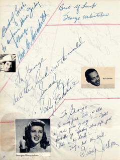 BILLY ECKSTINE - AUTOGRAPH NOTE SIGNED CO-SIGNED BY: NESTOR PAIVA, JOHN SHELTON, POLLY BERGEN, GEORGE WHITCHER, CHARLES WATTS, DON CHURHCILL, GINNY JACKSON, OLE RASMUSSEN, JAN KAYNE