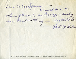 RED NICHOLS - AUTOGRAPH LETTER SIGNED CO-SIGNED BY: MILTON H. BERGER