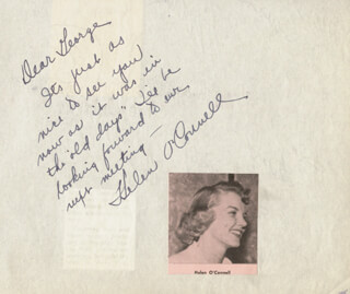 HELEN O'CONNELL - AUTOGRAPH NOTE SIGNED CO-SIGNED BY: MILLARD MITCHELL, MINDY CARSON