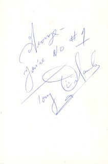 TONY ORLANDO - AUTOGRAPH NOTE SIGNED