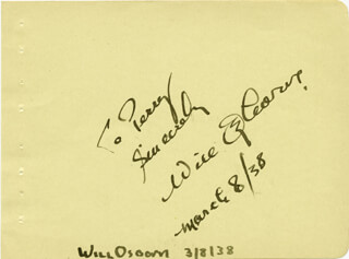 WILL OSBORNE - INSCRIBED SIGNATURE 03/08/1938