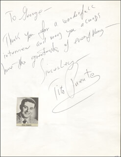 TITO PUENTE - AUTOGRAPH NOTE SIGNED CO-SIGNED BY: LOU MONTE