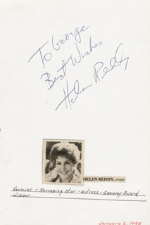 HELEN REDDY - AUTOGRAPH NOTE SIGNED