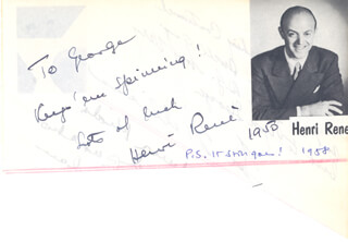 HENRI RENE - AUTOGRAPH NOTE SIGNED 1950 CO-SIGNED BY: TEX WILLIAMS