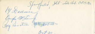 RAY SINATRA - AUTOGRAPH CO-SIGNED BY: V. Y. DALLMAN, DOUGLAS McLAIN JR., DORIS ELAINE SEARIGHT, TONY CURCILLO, JIM HUTIKKO