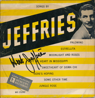 HERB JEFFRIES - RECORD ALBUM COVER SIGNED  - HFSID 341096