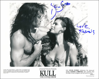 KULL THE CONQUEROR MOVIE CAST - AUTOGRAPH SENTIMENT ON PRINTED PHOTOGRAPH SIGNED CO-SIGNED BY: KEVIN SORBO, KARINA LOMBARD