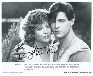 THE PHILADELPHIA EXPERIMENT MOVIE CAST - AUTOGRAPH SENTIMENT ON PRINTED PHOTOGRAPH SIGNED CO-SIGNED BY: NANCY ALLEN, MICHAEL PARE