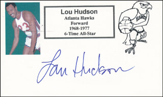 Autographs: LOU SWEET LOU HUDSON - PRINTED CARD SIGNED IN INK