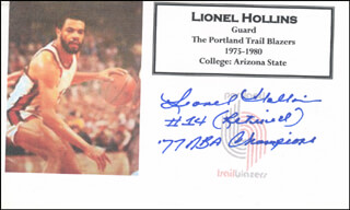 LIONEL HOLLINS - PRINTED CARD SIGNED IN INK