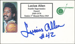 Autographs: LUCIUS ALLEN - PRINTED CARD SIGNED IN INK