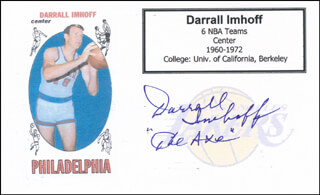 DARRALL THE AXE IMHOFF - PRINTED CARD SIGNED IN INK