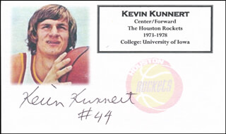 KEVIN KUNNERT - PRINTED CARD SIGNED IN INK