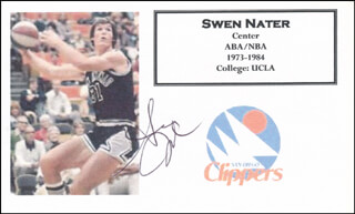 SWEN NATER - PRINTED CARD SIGNED IN INK