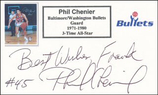 PHIL CHENIER - AUTOGRAPH NOTE SIGNED