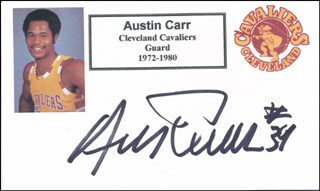 AUSTIN CARR - PRINTED CARD SIGNED IN INK