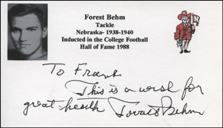 FORREST BEHM - AUTOGRAPH NOTE SIGNED