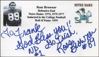 ROSS BROWNER - AUTOGRAPH NOTE SIGNED