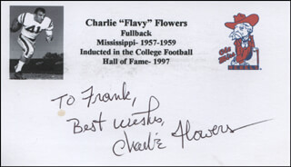 CHARLIE FLOWERS - AUTOGRAPH NOTE SIGNED