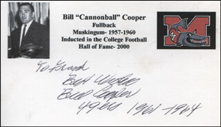 BILL CANNONBALL COOPER - AUTOGRAPH NOTE SIGNED