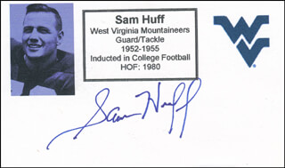 SAM HUFF - PRINTED CARD SIGNED IN INK
