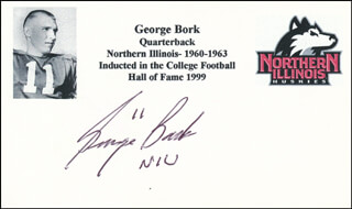 GEORGE BORK - PRINTED CARD SIGNED IN INK