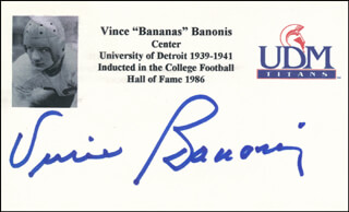VINCE BANONIS - PRINTED CARD SIGNED IN INK