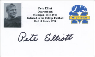 PETE ELLIOTT - PRINTED CARD SIGNED IN INK