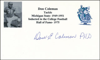 DON COLEMAN - PRINTED CARD SIGNED IN INK