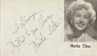 MARTHA TILTON - AUTOGRAPH NOTE SIGNED CO-SIGNED BY: EDDIE MILLER