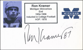 RON KRAMER - PRINTED CARD SIGNED IN INK