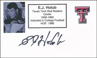 E.J. HOLUB - PRINTED CARD SIGNED IN INK