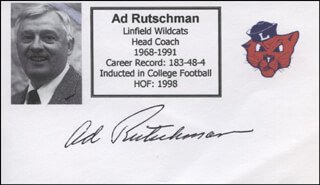 AD RUTSCHMAN - PRINTED CARD SIGNED IN INK