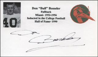 DON BOSSELER - PRINTED CARD SIGNED IN INK