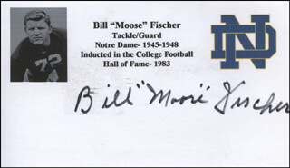 BILL MOOSE FISCHER - PRINTED CARD SIGNED IN INK