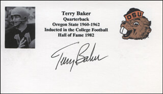 Autographs: TERRY W. BAKER - PRINTED CARD SIGNED IN INK