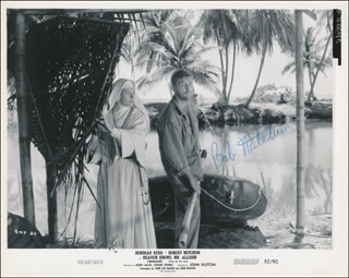 HEAVEN KNOWS, MR. ALLISON MOVIE CAST - PRINTED PHOTOGRAPH SIGNED IN INK CO-SIGNED BY: ROBERT MITCHUM, DEBORAH KERR