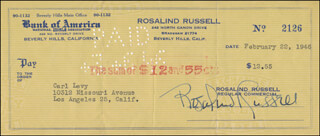 Autographs: ROSALIND RUSSELL - CHECK SIGNED 02/22/1946