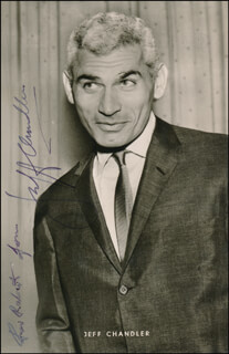 JEFF CHANDLER - INSCRIBED PRINTED PHOTOGRAPH SIGNED IN INK