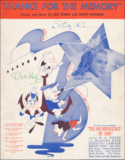 Autographs: THE BIG BROADCAST OF 1938 MOVIE CAST - SHEET MUSIC SIGNED CO-SIGNED BY: BOB HOPE, SHIRLEY ROSS