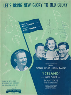 ICELAND MOVIE CAST - SHEET MUSIC SIGNED CO-SIGNED BY: JOHN PAYNE, SONJA HENIE