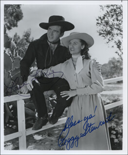 FRONTIER REVENGE MOVIE CAST - AUTOGRAPHED SIGNED PHOTOGRAPH CO-SIGNED BY: PEGGY STEWART, LASH LA RUE