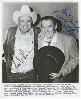 THE NASHVILLE PALACE TV CAST - PRINTED PHOTOGRAPH SIGNED IN INK CO-SIGNED BY: SLIM PICKENS, PAT BUTTRAM
