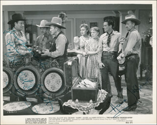 THE MAN FROM THUNDER RIVER MOVIE CAST - PRINTED PHOTOGRAPH SIGNED IN INK CO-SIGNED BY: BILL WILD BILL ELLIOTT, ANNE JEFFREYS
