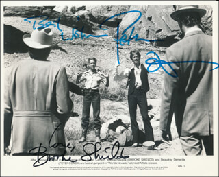 WANDA NEVADA MOVIE CAST - PRINTED PHOTOGRAPH SIGNED IN INK CO-SIGNED BY: PETER FONDA, BROOKE SHIELDS