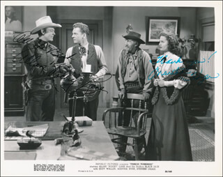 FRISCO TORNADO MOVIE CAST - PRINTED PHOTOGRAPH SIGNED IN INK CO-SIGNED BY: MARTHA HYER, ALLAN LANE