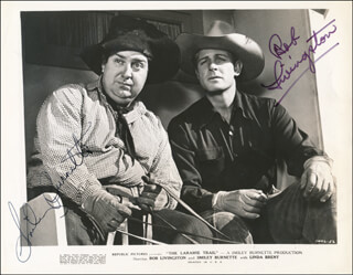 THE LARAMIE TRAIL MOVIE CAST - PRINTED PHOTOGRAPH SIGNED IN INK CO-SIGNED BY: SMILEY (LESTER) BURNETTE, ROBERT LIVINGSTON