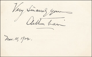 ARTHUR CHENEY TRAIN - AUTOGRAPH SENTIMENT SIGNED 11/10/1922